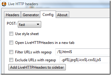 Live HTTP headers config screen - That's where the problem is!