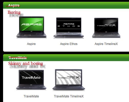 Lenovo Thinkpad T-series vs. MacBook Pro 2011 comparison - Acer website